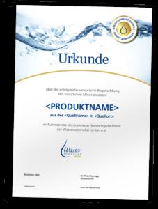 Sensorik-Gutachten Wassersommelier Union Urkunde