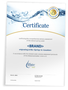Sensory Assessment Certificate Water Sommelier Union